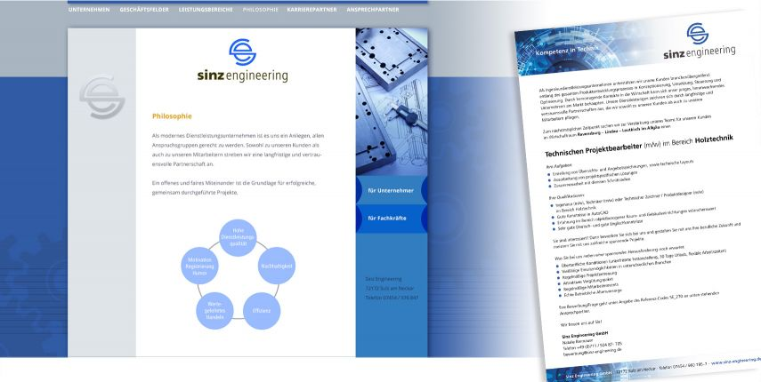 Corporate Design und Website für Sinz Engineering